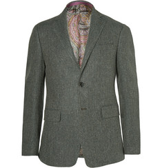 Etro Green Slim-Fit Herringbone Wool-Blend Blazer