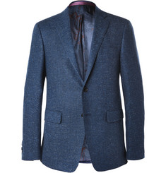 Etro Navy Herringbone Wool, Cotton and Cashmere-Blend Blazer