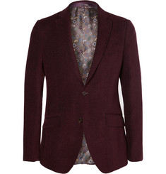 Etro Burgundy Wool And Cotton-Blend Chenille Blazer