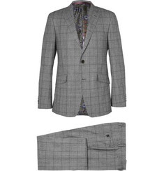 Etro Grey Checked Wool Suit