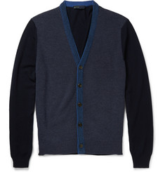 Etro Slim-Fit Contrast-Knit Wool Cardigan