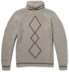 Etro Argyle Ribbed-Knit Wool Rollneck Sweater