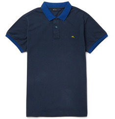 Etro Two-Tone Cotton-Piqué Polo Shirt