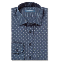 Etro Blue Slim-Fit Cotton-Poplin Shirt