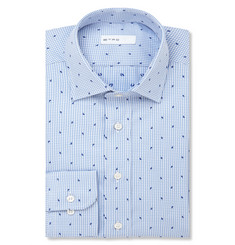 Etro Blue Paisley Checked Cotton-Jacquard Shirt