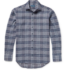 Etro Checked Linen, Cotton, Wool and Cashmere-Blend Flannel Shirt