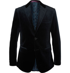Etro Blue Slim-Fit Cotton-Blend Velvet Blazer