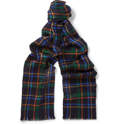 Etro Plaid Cashmere and Silk-Blend Scarf