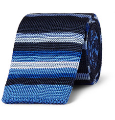 Etro Striped Knitted-Silk Tie