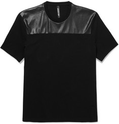 Neil Barrett Faux Leather-Panelled Cotton-Jersey T-Shirt