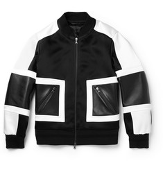 Neil Barrett Leather-Trimmed Satin Bomber Jacket