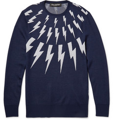 Neil Barrett Lightning Bolt-Intarsia Wool Sweater