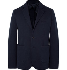 Aspesi Navy Slim-Fit Unstructured Knitted Wool Blazer