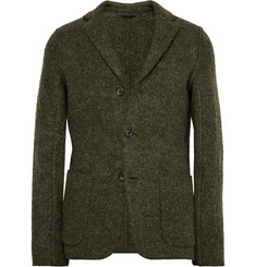 Aspesi Green Unstructured Boiled Wool-Blend Blazer