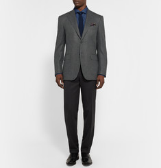 Canali Grey Basketweave Wool and Cashmere-Blend Blazer