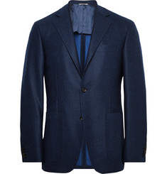 Canali Navy Kei Unstructured Double-Faced Wool Blazer