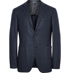Canali Navy Kei Unstructured Basketweave Wool Blazer