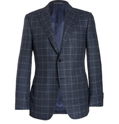 Canali Blue Checked Wool and Cashmere-Blend Blazer
