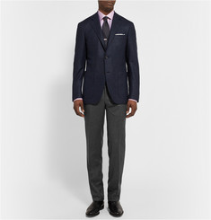 Canali Grey Slim-Fit Brushed-Wool Trousers