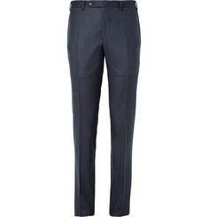 Canali Navy Slim-Fit Brushed-Wool Trousers