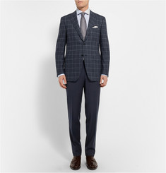 Canali Slim-Fit Checked Wool Trousers
