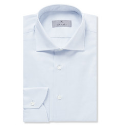 Canali Blue Pin-Dot Cotton Shirt