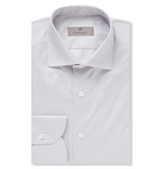 Canali Grey Slim-Fit Striped Cotton Shirt