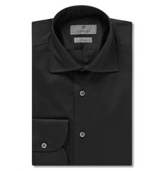 Canali Black Slim-Fit Cotton-Blend Poplin Shirt