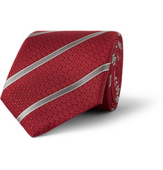 Canali Striped Basketweave Silk Tie