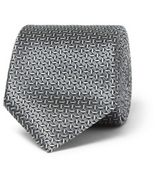 Canali Patterned Woven Silk Tie