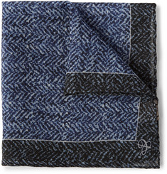 Canali Herringbone-Print Wool Pocket Square