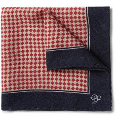 Canali Checked Wool Pocket Square