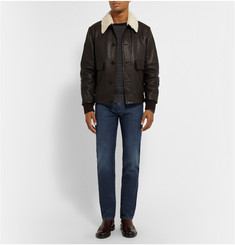 Canali Slim-Fit Shearling-Trimmed Leather Bomber Jacket