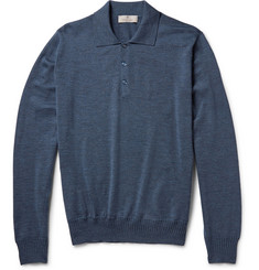 Canali Knitted Mélange Wool Polo Shirt