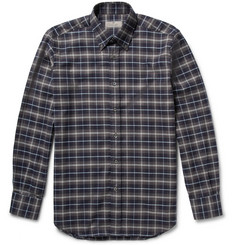 Canali Button-Down Collar Plaid Cotton-Flannel Shirt