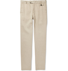 Oliver Spencer Fishtail Slim-Fit Linen and Cotton-Blend Trousers