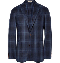 Boglioli Navy Dover Unstructured Checked Wool Blazer