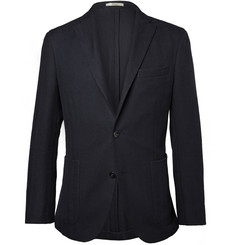 Boglioli Navy Dover Herringbone Cotton-Blend Blazer