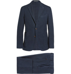 Boglioli Navy Stretch-Cotton Hopsack Suit