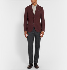 Boglioli Slim-Fit Herringbone Wool and Cotton-Blend Trousers