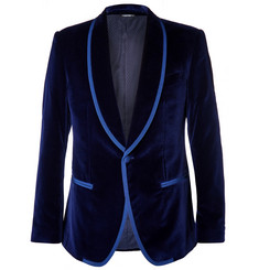 Dolce & Gabbana Blue Slim-Fit Satin-Trimmed Velvet Tuxedo Jacket