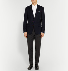 Dolce & Gabbana Navy Cashmere and Silk-Blend Blazer