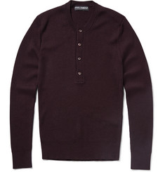 Dolce & Gabbana Rib-Knit Wool Henley Sweater