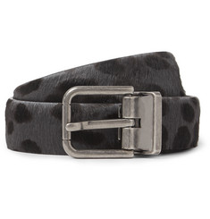 Dolce & Gabbana -  2.5cm Grey and Black Calf Hair Belt