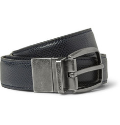 Dolce & Gabbana Reversible 4cm Textured-Leather Belt