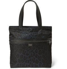 Dolce & Gabbana Reversible Textured Leather-Trimmed Canvas Tote Bag
