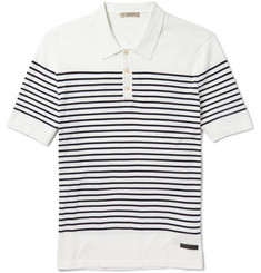 Burberry Brit Striped Knitted-Cotton Polo Shirt