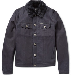 Burberry Brit Shearling-Collar Denim Jacket