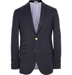 Michael Bastian Navy Suede Elbow Patch Wool, Cotton and Cashmere-Blend Blazer