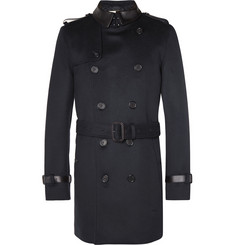 Burberry London Leather-Trimmed Wool and Cashmere-Blend Trench Coat